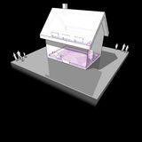 Diagram of a detached  house with floor heating and radiators Royalty Free Stock Photography