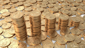 Diagram of dollar coins over layer of coins. Diagram of golden dollar coins over layer of coins Stock Image