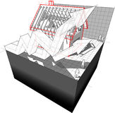Diagram dom w budowie z powstającymi biznesowymi strzała Zdjęcia Stock