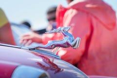 Diagram-emblem hjortar p? huven av en retro bil Volga Gas-21 royaltyfria bilder