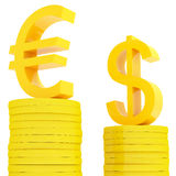 Diagram euro and dollar. Diagram of the euro and dollar  from coins Stock Photos