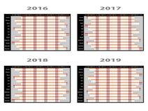 Diagram för årsstadsplanerarevägg Arkivfoton