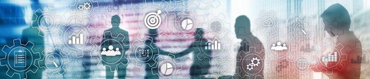 Diagram för abstrakt begrepp för affärsprocess med kugghjul och symboler Workflow- och automationteknologibegrepp Websitetitelrad arkivfoto