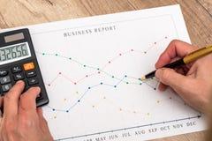 Diagram för affärsmanhandvisning Arkivfoton