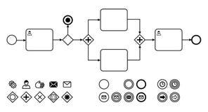 Diagram för affärsprocess med symboler sänker vektorillustrationen arkivfoton