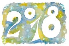 Diagram för det nya året med snöflingor målade i vattenfärg Royaltyfri Foto