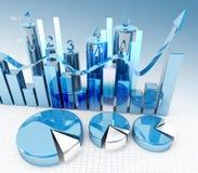 diagram för finans 3d royaltyfri illustrationer