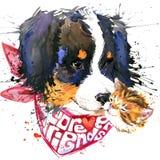 Diagram för hundföljeT-tröja stock illustrationer