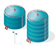 Diagram för information om byggnad för vattenbehållare isometriskt Tillförsel för behållare för blått vatten Royaltyfri Fotografi