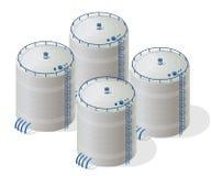 Diagram för information om byggnad för vattenbehållare isometriskt Uninterruptible strömförsörjningreserver Arkivfoto