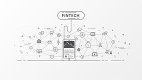 Diagram för information om Fintech och Blockchain teknologi stock illustrationer
