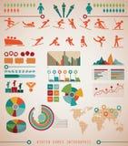 Diagram för information om lekar för vintersportar Arkivbild