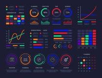 Diagram för information om mall för design för instrumentbräda för modernt diagram för grafiska data knyter kontakt infographic l vektor illustrationer