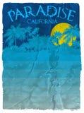 Diagram för Kalifornien strandtypografi T-tröjaprintingdesign vektor illustrationer