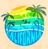 Diagram för Kalifornien strandtypografi T-tröjaprintingdesign fo vektor illustrationer