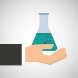 Diagram för kemikalie för flaska för handinnehavprov royaltyfri illustrationer