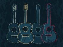 Diagram för klassisk och akustisk gitarr royaltyfri illustrationer