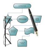 Diagram för kundköpandeprocess med pennan & glasögon Royaltyfria Bilder