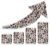 Diagram a för marknadsföring för tillväxt för vinst för grupp människorframgångaffär Royaltyfri Bild