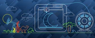 diagram för printing 3d på skrivaren 3d Arkivbild