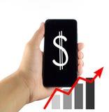 Diagram för Smartphone affärsgraf på en vit bakgrund arkivbilder