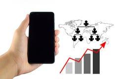 Diagram för Smartphone affärsgraf på en vit bakgrund arkivbild