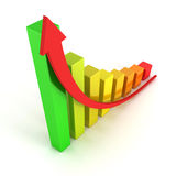 Diagram för stång för affärstillväxt färgrikt Arkivfoto