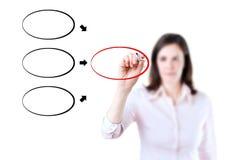 Diagram för teckning för affärskvinna på whiteboard. Fotografering för Bildbyråer