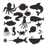Diagram för vatten för liv för akvarium för djurliv för hav för tecknad film för tecken för varelser för kontur för vektor för ha stock illustrationer