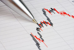 Diagram on financial report/magazine. Pen showing diagram on financial report/magazine Royalty Free Stock Photo