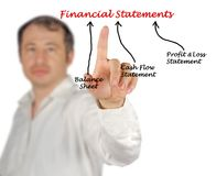 Diagram of Financial Statements. Man presenting diagram of Financial Statements Royalty Free Stock Photography