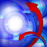 The diagram in the form of red and blue arrows. On a striped background Stock Photography
