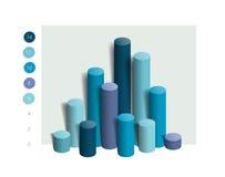 diagram för kolonn 3D, graf Enkelt redigerbar blå färg Arkivbilder