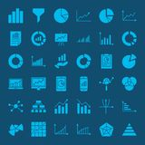 Diagram Glyph Web Icons. Vector Set of Business Symbols Royalty Free Stock Images