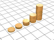Diagram - the gold coins, combined in columns. 3d diagram - the gold coins, combined in columns Royalty Free Stock Photography
