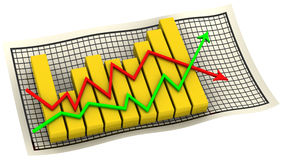 Diagram. Golden chart with arrows change indicators on the sheet in a cage. . 3D Illustration Royalty Free Stock Photo