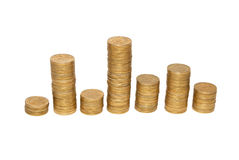 Diagram of golden coins Royalty Free Stock Photo
