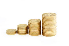 Diagram of golden coins Royalty Free Stock Photography