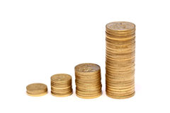 Diagram of golden coins Stock Photography