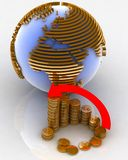 Diagram of golden coins. 3d diagram of golden coins with a arrow on a background a globe Royalty Free Stock Images