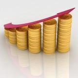 Diagram of golden coins. 3d diagram of golden coins with a arrow Stock Photos