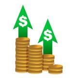 Diagram of golden coins Royalty Free Stock Photos