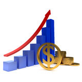 Diagram of golden dollars Royalty Free Stock Images