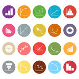 Diagram and graph flat icons on white background Royalty Free Stock Photo
