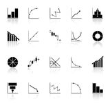 Diagram and graph icons with reflect on white back Stock Photos