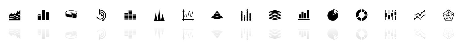 Diagram Graphs - Flat Vector Icons. Diagram Graphs icons - Black horizontal Illustration symbol on White Background with a mirror Shadow reflection. Flat Vector Stock Photography
