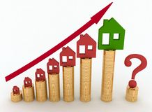 Diagram of growth in real estate prices Stock Photo