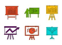 Diagram Icon Set, Color Outline Style Royalty Free Stock Images