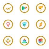 Diagram icons set, cartoon style. Diagram icons set. Cartoon style set of 9 diagram vector icons for web design Royalty Free Stock Image