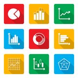 Diagram Icons Set with long shadow Royalty Free Stock Image